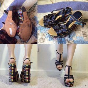 Joey Shoes - JOEY Jewel Tone Ribbon Weave Wedges